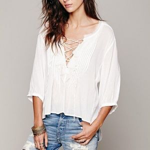 Free People Ruffle Me Up High Low White Top Medium